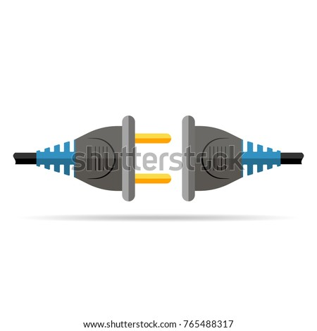 Wire plug and socket, isolated on white background. Vector illustration. Wire plug and socket in flat design