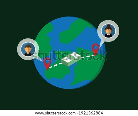 Wire transfer from one country to transfer money to overseas vector Stockfoto ©