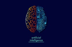 Wired brain illustration - next step to artificial intelligence and circuit board human brain.  Concept illustration Electronic chip in form of human brain in electronic cyberspace.