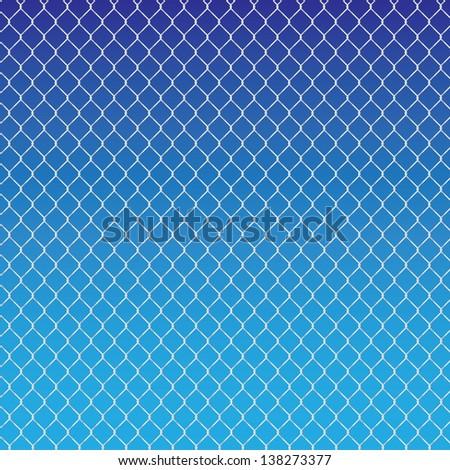 wired fence on a blue background - illustartion