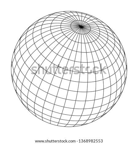 wired sphere frame illustration / black