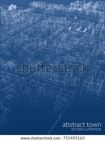wireframe abstract old town, vector blueprint aerial view