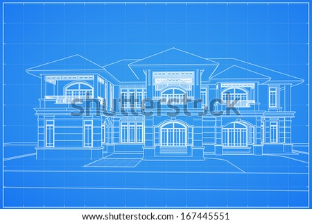 Wireframe blueprint drawing of classical house - Vector illustration