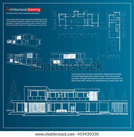 Architecture template vectors download free vector art stock wireframe blueprint drawing of 3d building house vector architectural template background malvernweather Choice Image