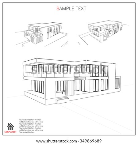 Wireframe blueprint drawing of 3D building. Vector architectural template background.