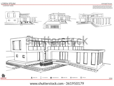 Wireframe Blueprint Drawing Of Building Vector Architectural