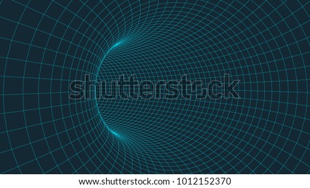 Wireframe 3D surface tunnel.Background abstract vector image of a tunnel for presentations. Network cyber technology. Futuristic perspective grid background texture.