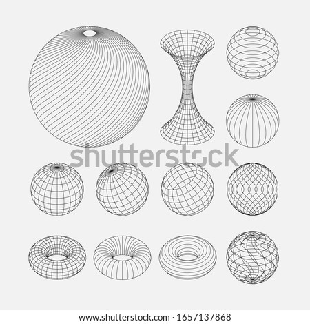 Wireframe earth grid mesh objects set. Network line, HUD design spheres set. Isolated on white background