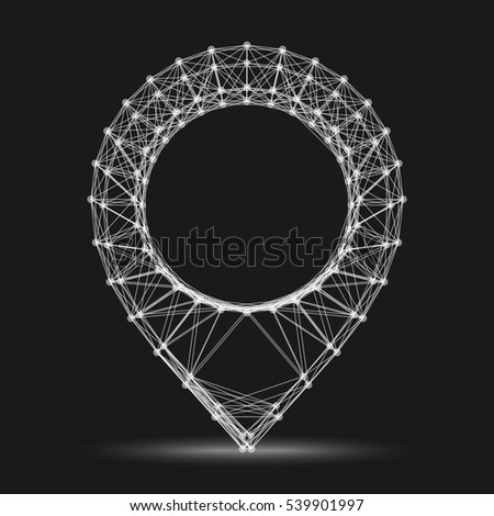 Wireframe geo pin mesh polygonal background. Abstract form with connected lines and dots. Vector illustration.