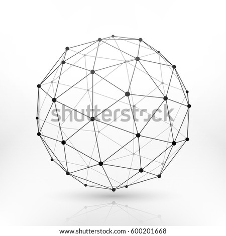 Wireframe globe sphere, connectivity, network tech connection vector concept