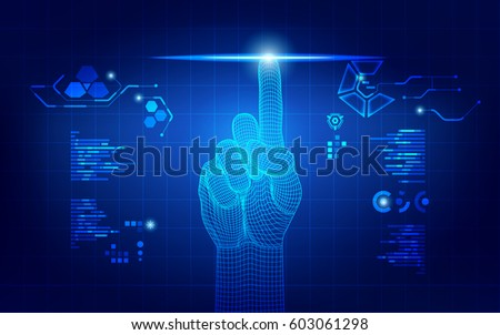 wireframe hand touching digital interface, concept of communication world