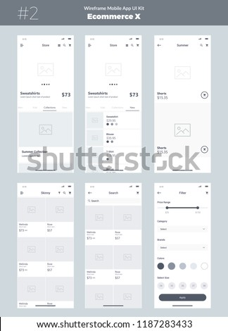 Wireframe kit for mobile phone. Mobile App UI, UX design. New ecommerce screens: store, category, filter, all products, search, collections, new, feed.