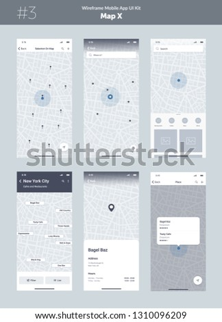 Wireframe kit for mobile phone. Mobile App UI, UX design. New map position: selection on map, search, list, point, filter, place and pick location screens.