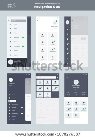 Wireframe kit for mobile phone. Mobile App UI, UX design. New OS navigation. Menu screens: home, article, video, messages, friends, notifications, settings, logout, search.