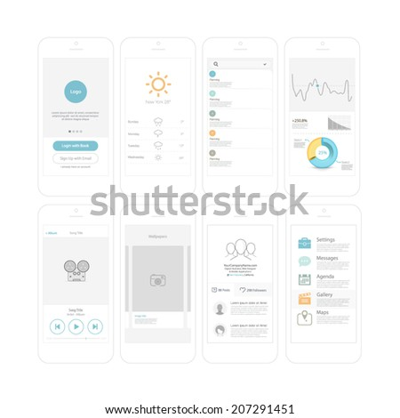 Wireframe kit for mobile phone UI design.