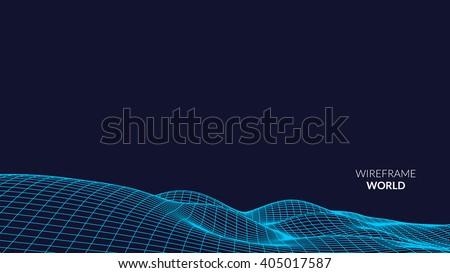 wireframe landscape background