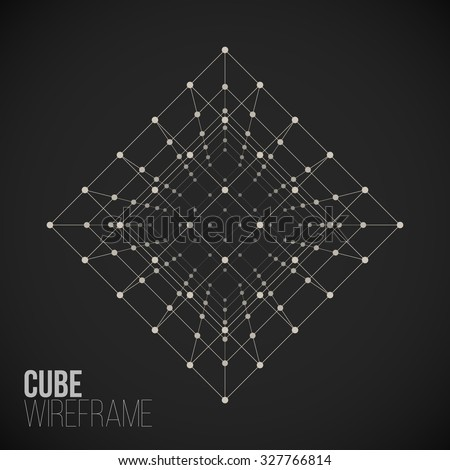 wireframe mesh cube connected
