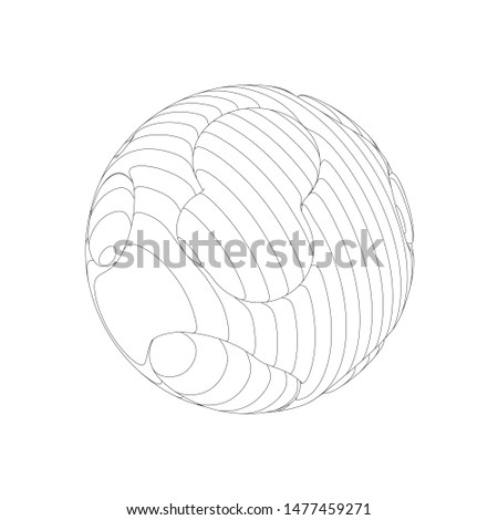Wireframe mesh objects. Network line, HUD design sphere. Abstract 3d object. Isolated on white background