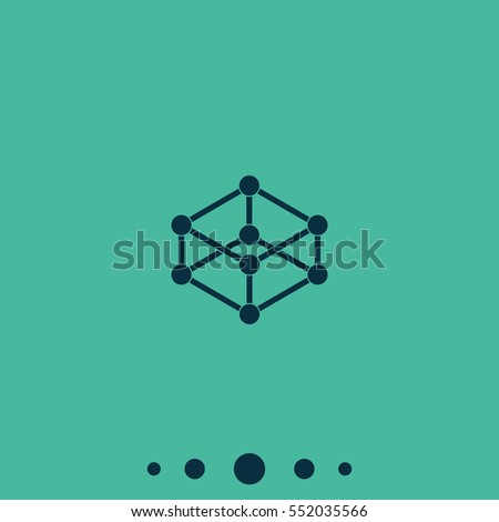 Wireframe mesh polygonal element. Cube with connected lines and dots. #552035566