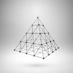Wireframe mesh polygonal element. Pyramid with connected lines and dots. Vector Illustration EPS10