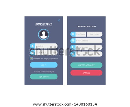 Wireframe mobile app ui kit mobile app. Login screen, signup screen, sign in screen, register screen, registration forms, create new account, log in existing account