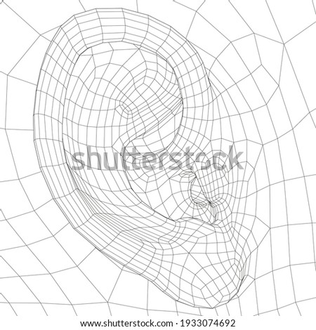 Wireframe model of the human ear. Side view. 3D. Vector illustration Photo stock ©