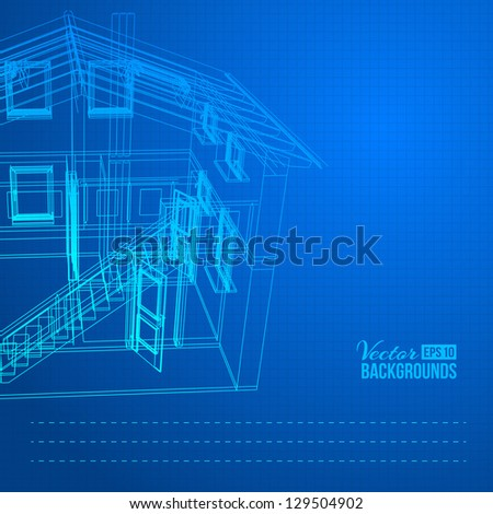 Wireframe of building. Vector illustration, eps10, contains transparencies, gradients and effects.