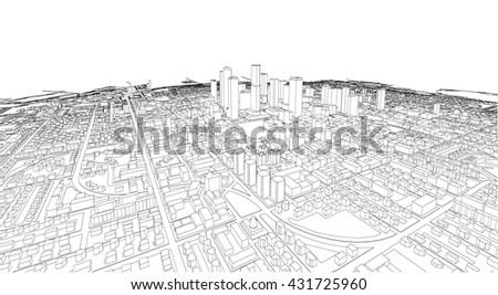 Wireframe of Cityscape, Vector Sketch. Architecture - Illustration