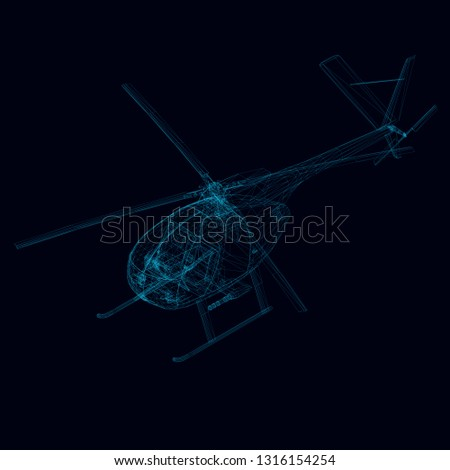 wireframe of helicopter