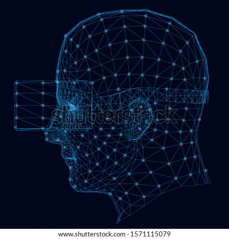Wireframe of the human head in virtual reality glasses. Side view. The contour of the head from blue lines with luminous lights on a dark background. Vector illustration
