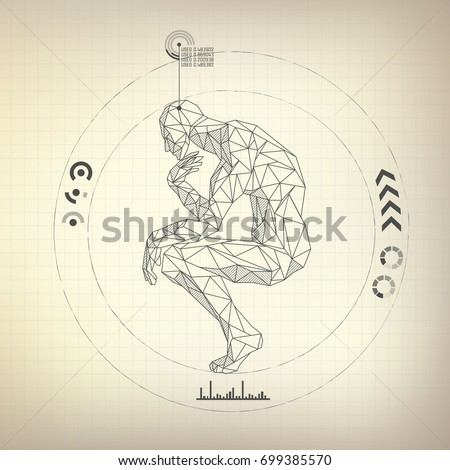wireframe polygon man is thinking in futuristic retro style, vector of a great thinker ストックフォト ©