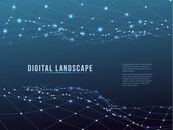 Wireframe polygonal landscape. Mountains with connected lines and dots. Vector illustration.