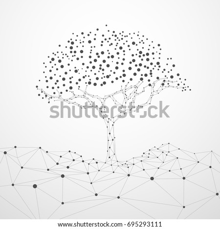 wireframe tree with technology