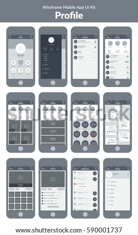 Wireframe UI kit for mobile phone. Mobile App. Menu, messages. notifications, friends, timeline, settings, portfolio, works, projects and rating screens.