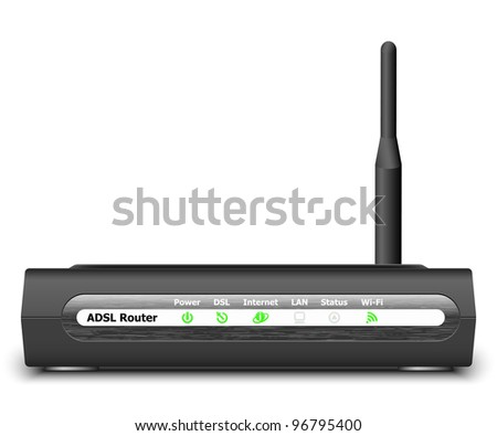 Wireless ADSL Router Icon. Vector Illustration