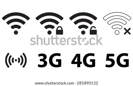 Wireless and wifi icon set for remote internet access. Podcast vector symbol. 3G, 4G and 5G technology symbols.