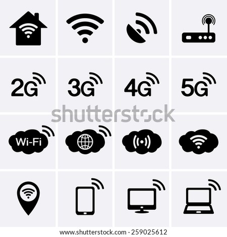 Wireless and Wifi icons. 2G, 3G, 4G and 5G technology symbols.