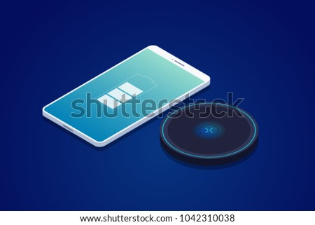 Wireless charger for smartphone. Modern technologies. Image charging on screen of mobile phone. 3d isometric design. Vector illustration.