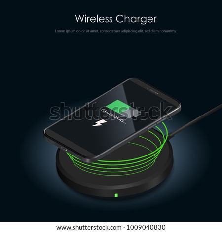 Wireless Charger infographic. Realistic modern black smartphone isolated, borderless and no home button. Charging battery on charging pad. Wireless charging technology concept on black background.