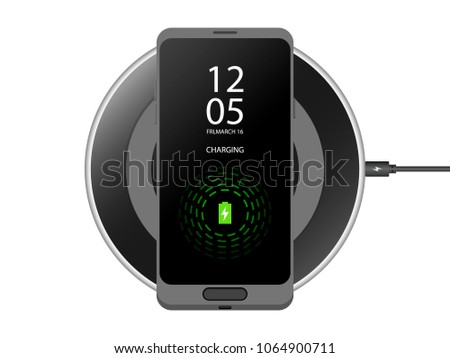 Wireless charging for smartphone Charging mobile Vector Icon