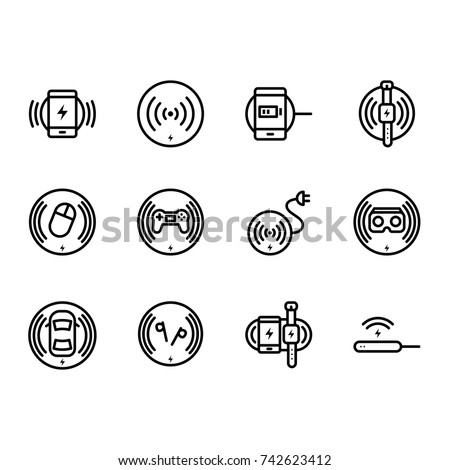 Wireless Charging Icon Set Vector Outline