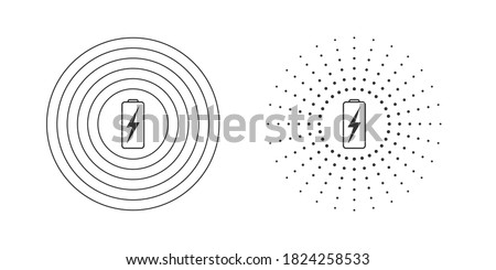 Wireless charging icons. Wireless charging icon concept. Variations of wireless charging icons for web and animation. Vector illustration Stockfoto ©