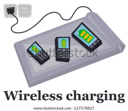 wireless charging mobile phones on white background stock vector illustration 127578827. Black Bedroom Furniture Sets. Home Design Ideas