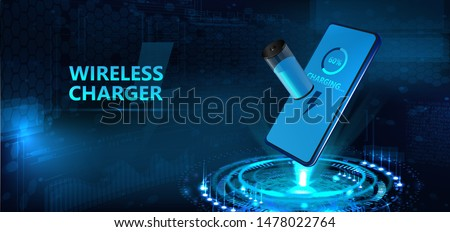 Wireless charging of the smartphone battery and 3d hologram batteries the battery icon shows the charging process. Futuristic technology concept. Vector illustration
