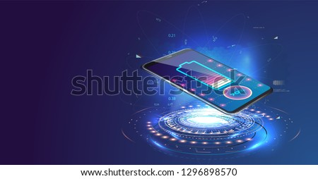 Wireless charging of the smartphone battery. Future concept. The progress of charging the battery of the phone.Wireless charging technology concept on blue background.