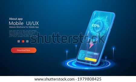 Wireless charging of the smartphone battery. Future concept. The progress of charging the battery of the phone. Wireless charging technology concept on blue background. Modern battery refuels. 3D