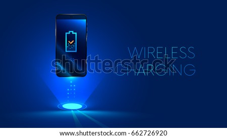 Wireless charging of the smartphone battery. Future concept. The progress of charging the battery of the phone. illustration. vector