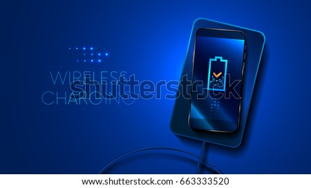 Wireless charging smart phone on blue. the battery icon shows the charging process. The charging of smartphone. The view from the top. VECTOR