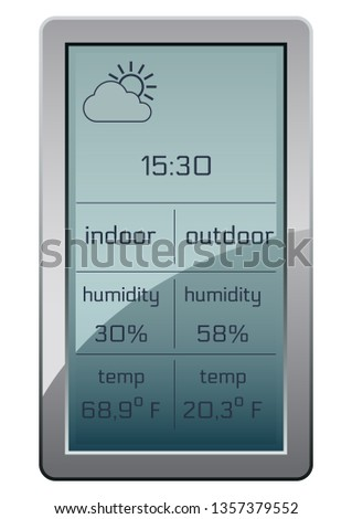 Wireless climate monitoring. Home weather station widget. Weather station home equipment, indicated temperature in Fahrenheit degrees and relative humidity in percents, forecast for six hours