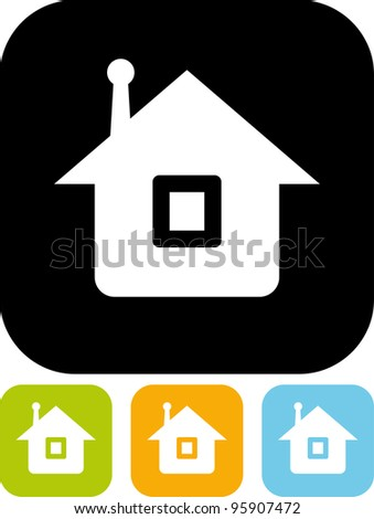 Wireless communication at home. House with antenna - Vector icon isolated